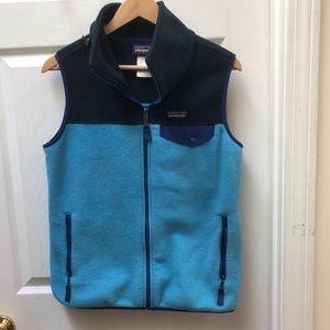Patagonia Blue snap fleece color block vest